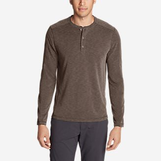 Men's Contour Long-Sleeve Henley Shirt in Brown