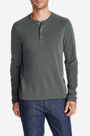 Men's Contour Long-Sleeve Henley Shirt in Gray