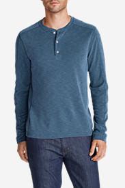 Men's Contour Long-Sleeve Henley Shirt in Blue