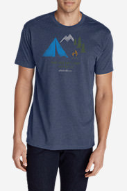 Men's Graphic T-Shirt - Camp Fires Don't Start. They Get Lit. in Blue