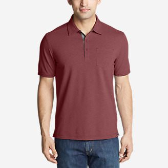 Men's En Route Short-Sleeve Polo Shirt in Orange