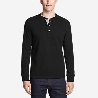 Men's Eddie's Favorite Thermal Henley Shirt in Black