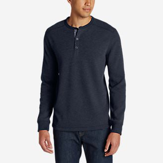 Men's Eddie's Favorite Thermal Henley Shirt in Blue