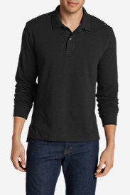 Men's Field Long-Sleeve Polo Shirt in Black