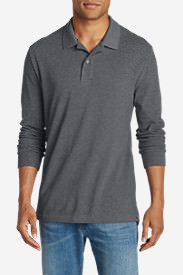 Men's Field Long-Sleeve Polo Shirt in Gray