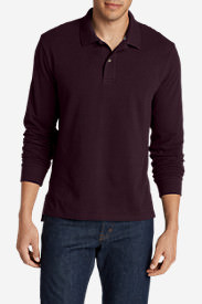 Men's Field Long-Sleeve Polo Shirt in Red
