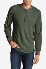 Men's Wapato Long-Sleeve Henley Shirt in Green