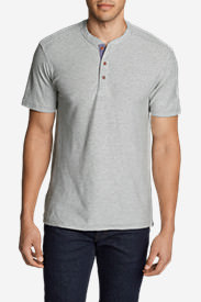 Men's Ferox Short-Sleeve Henley Shirt - Textured Stripe in Gray