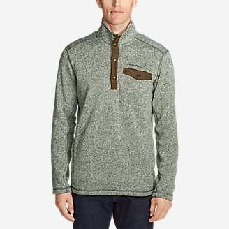 Men's Radiator Fleece Snap Mock Neck in Green