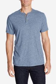 Men's Short-Sleeve Henley Shirt in Blue