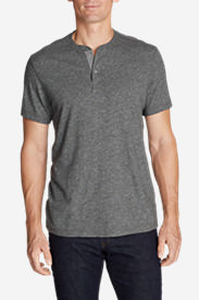 Men's Short-Sleeve Henley Shirt in Gray