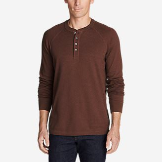 Men's Basin Long-Sleeve Henley Shirt in Brown