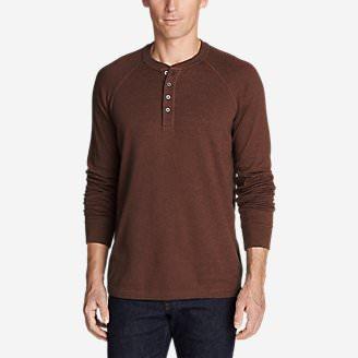 Men's Basin Long-Sleeve Henley Shirt in Brown