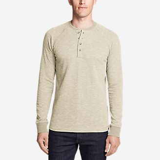 Men's Basin Long-Sleeve Henley Shirt in Beige