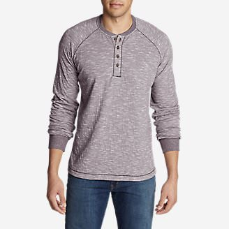 Men's Basin Long-Sleeve Henley Shirt in Purple
