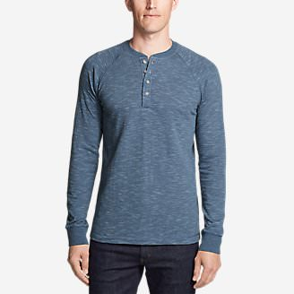 Men's Basin Long-Sleeve Henley Shirt in Blue