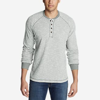 Men's Basin Long-Sleeve Henley Shirt in Gray