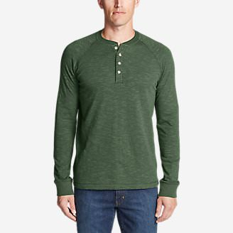 Men's Basin Long-Sleeve Henley Shirt in Green