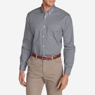 Men's Wrinkle-Free Slim Fit Pinpoint Oxford Shirt - Solid in Gray