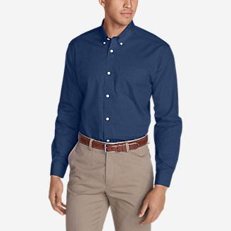 Men's Wrinkle-Free Slim Fit Pinpoint Oxford Shirt - Solid in Blue