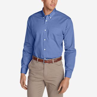 Men's Wrinkle-Free Slim-Fit Pinpoint Oxford Shirt - Solid in Blue
