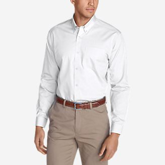 Men's Wrinkle-Free Slim Fit Pinpoint Oxford Shirt - Solid in White