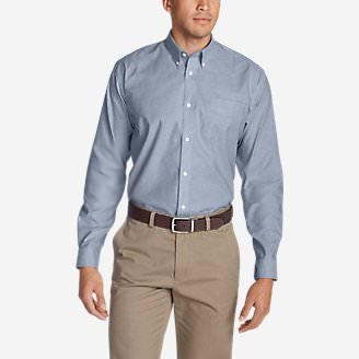 Men's Wrinkle-Free Relaxed Fit Oxford Cloth Shirt - Solid in Blue