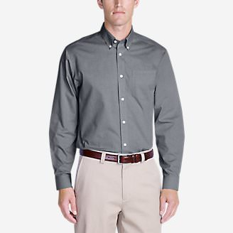 Men's Wrinkle-Free Relaxed Fit Pinpoint Oxford Shirt - Solid Long-Sleeve in Gray