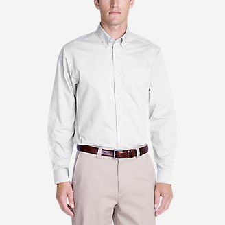 Men's Wrinkle-Free Relaxed Fit Pinpoint Oxford Shirt - Solid Long-Sleeve in White