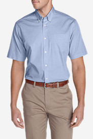 Men's Wrinkle-Free Relaxed Fit Short-Sleeve Pinpoint Oxford Shirt - Solid in Blue