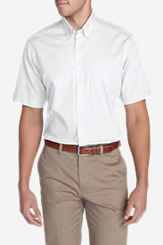 Men's Wrinkle-Free Relaxed Fit Short-Sleeve Pinpoint Oxford Shirt - Solid in White