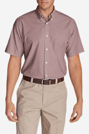 Men's Wrinkle-Free Relaxed Fit Short-Sleeve Oxford Cloth Shirt - Solid in Brown