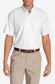 Men's Wrinkle-Free Relaxed Fit Short-Sleeve Oxford Cloth Shirt - Solid in White