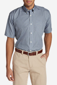 Men's Wrinkle-Free Relaxed Fit Short-Sleeve Oxford Cloth Shirt - Pattern in Brown