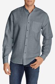 Men's Linen/Cotton Banded Collar Shirt in Blue