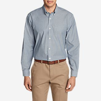 Men's Wrinkle-Free Relaxed Fit Oxford Cloth Shirt - Pattern in Blue