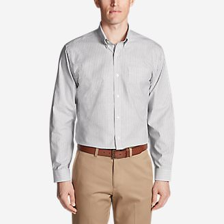 Men's Wrinkle-Free Relaxed Fit Oxford Cloth Shirt - Pattern in Gray