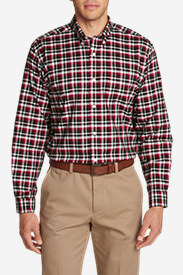 Men's Wrinkle-Free Relaxed Fit Oxford Cloth Shirt - Pattern in Red