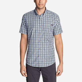 Men's On The Go Short-Sleeve Poplin Shirt in Blue