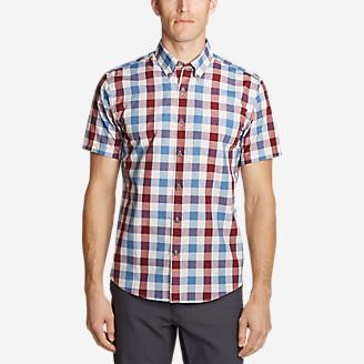 Men's On The Go Short-Sleeve Poplin Shirt in Red