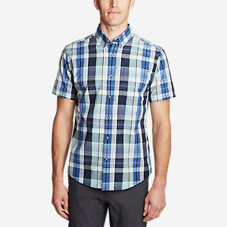Men's On The Go Short-Sleeve Poplin Shirt in Green
