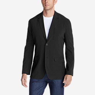 Men's Departure Tropical-Weight Packable Blazer in Black