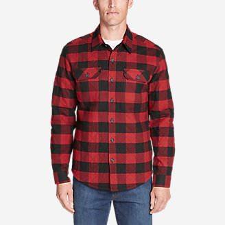 Men's Eddie's Favorite Flannel Quilted Shirt Jacket in Red