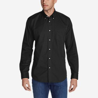 Men's Signature Twill Classic Fit Long-Sleeve Shirt - Solid in Black
