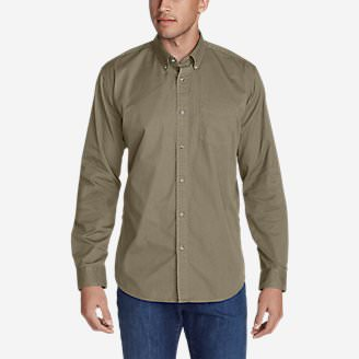 Men's Signature Twill Classic Fit Long-Sleeve Shirt - Solid in Beige