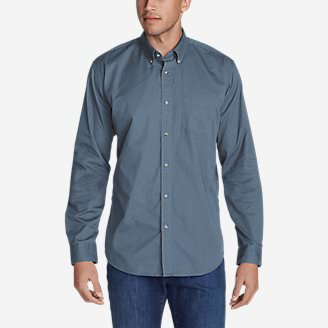 Men's Signature Twill Classic Fit Long-Sleeve Shirt - Solid in Blue