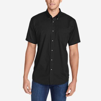 Men's Signature Twill Classic Fit Short-Sleeve Shirt - Solid in Black