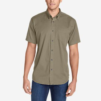 Men's Signature Twill Classic Fit Short-Sleeve Shirt - Solid in Beige