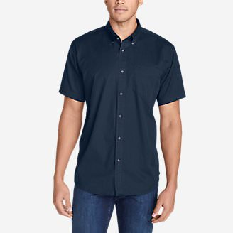 Men's Signature Twill Classic Fit Short-Sleeve Shirt - Solid in Blue