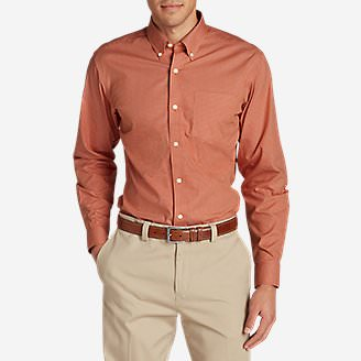 Men's Wrinkle-Free Pinpoint Oxford Classic Fit Long-Sleeve Shirt - Seasonal Pattern in Orange
